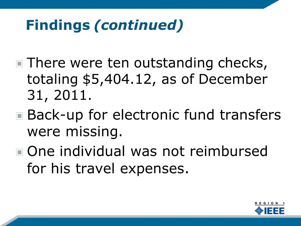 Recommendations When IEEE credit cards are used, proper documentations shall be submitted to justify said expenses.
