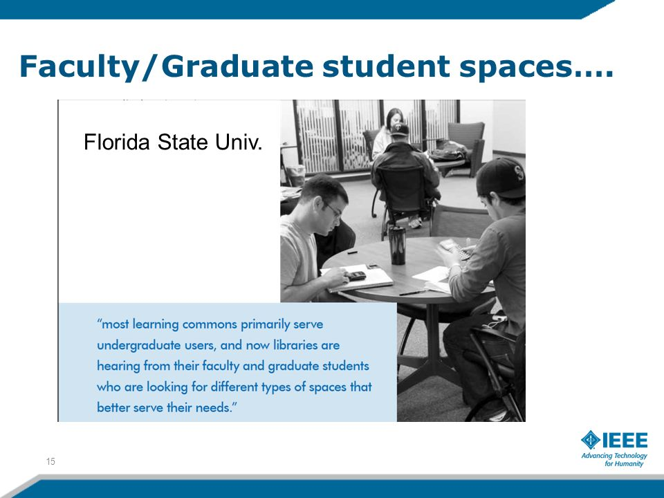 Faculty/Graduate student spaces…. 15 Florida State Univ.