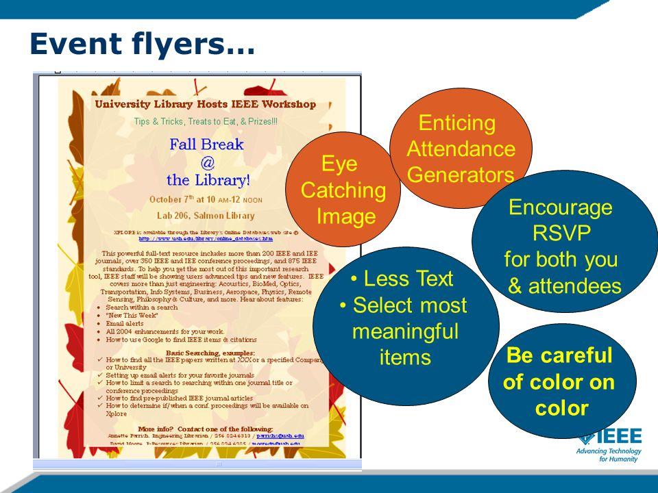 Event Flyers…. 9 Add a quiz Add prizes