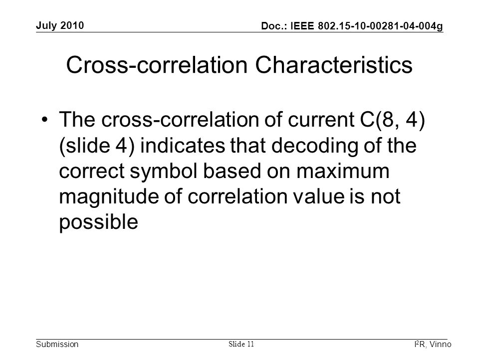 Doc.: IEEE 802.15-10-00281-04-004g Submission July 2010 I 2 R, Vinno Slide 11 Cross-correlation Characteristics The cross-correlation of current C(8,