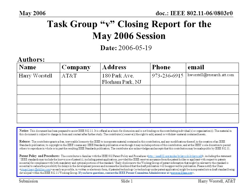 doc.: IEEE /0803r0 Submission May 2006 Harry Worstell, AT&TSlide 1 Task Group v Closing Report for the May 2006 Session Notice: This document has been prepared to assist IEEE