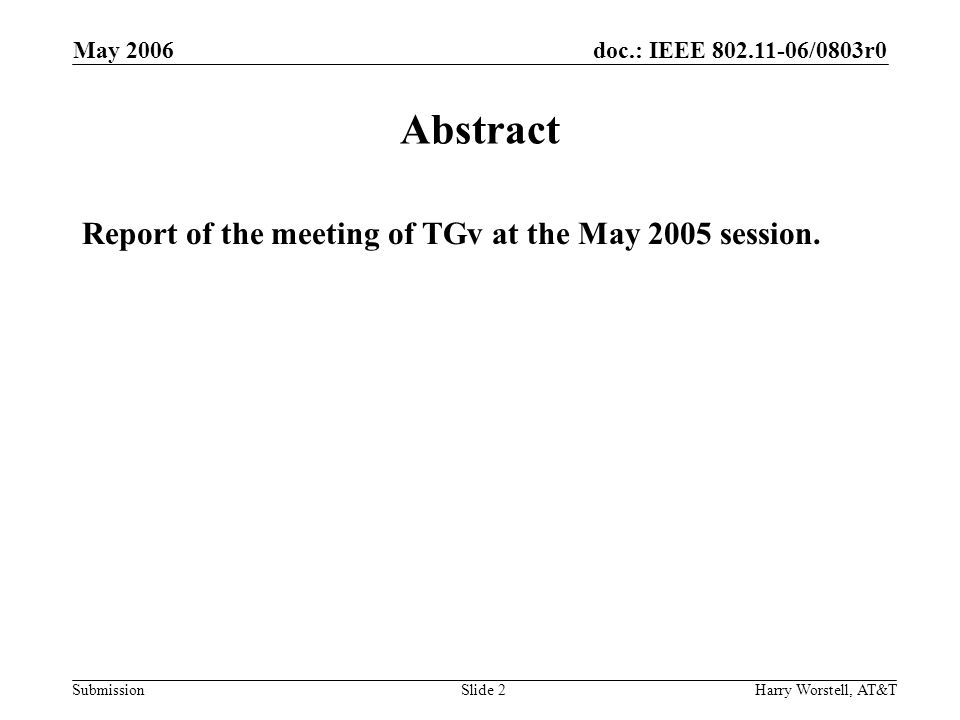 doc.: IEEE 802.11-06/0803r0 Submission May 2006 Harry Worstell, AT&TSlide 2 Abstract Report of the meeting of TGv at the May 2005 session.