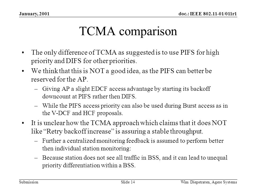 doc.: IEEE 802.11-01/011r1 Submission January, 2001 Wim Diepstraten, Agere Systems Slide 14 TCMA comparison The only difference of TCMA as suggested is to use PIFS for high priority and DIFS for other priorities.