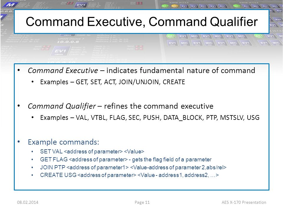 Page 1108.02.2014AES X-170 Presentation Command Executive, Command Qualifier Command Executive – indicates fundamental nature of command Examples – GE