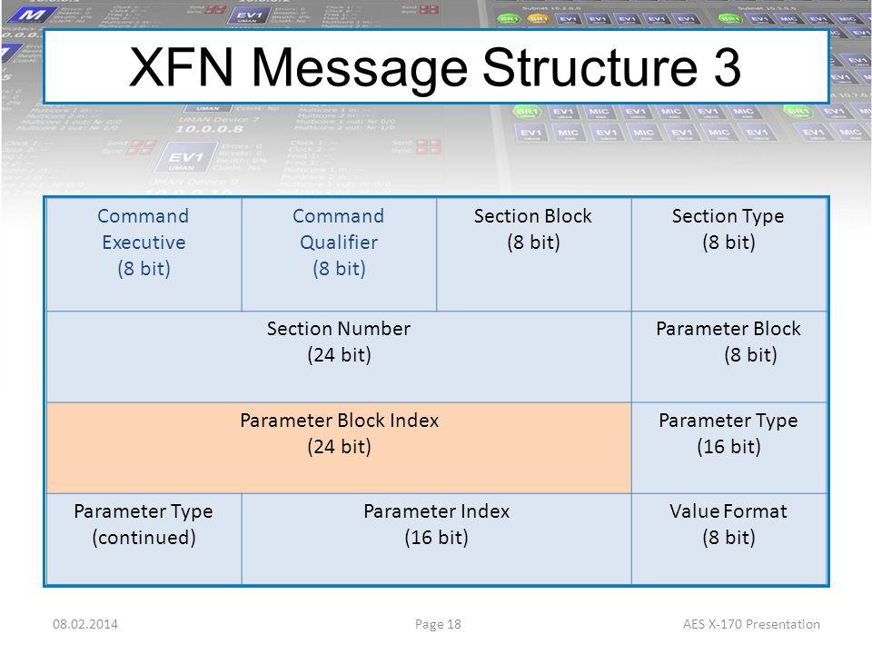 XFN Message Structure 3 Command Executive (8 bit) Command Qualifier (8 bit) Section Block (8 bit) Section Type (8 bit) Section Number (24 bit) Paramet