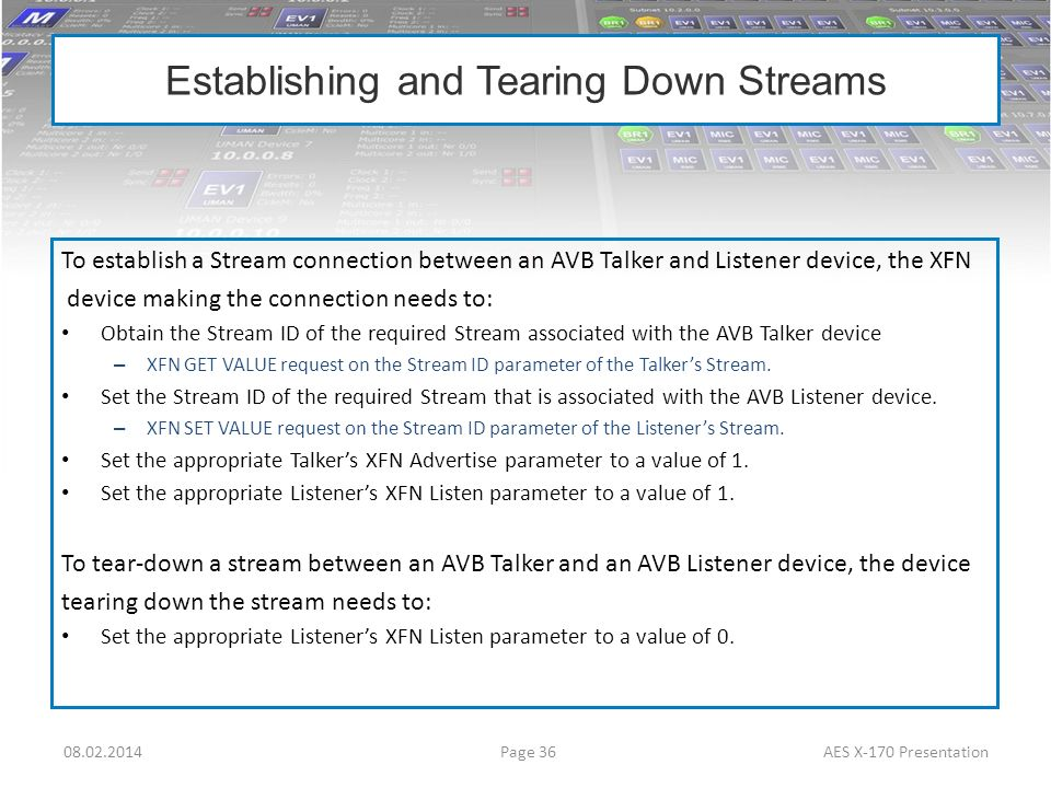 Establishing and Tearing Down Streams To establish a Stream connection between an AVB Talker and Listener device, the XFN device making the connection