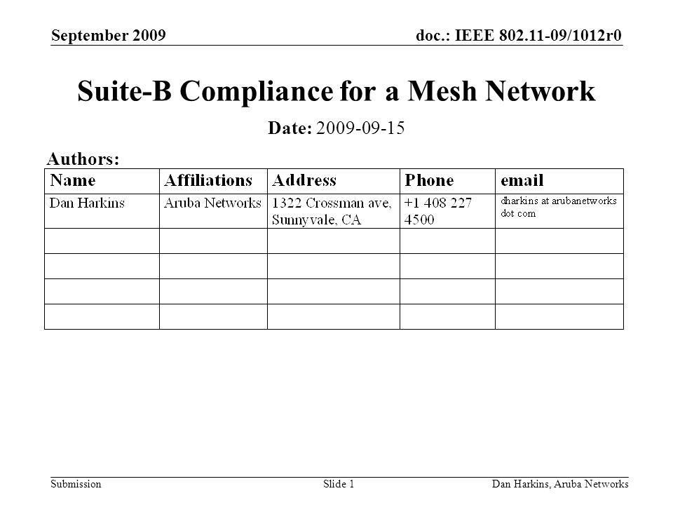doc.: IEEE 802.11-09/1012r0 Submission September 2009 Dan Harkins, Aruba NetworksSlide 1 Suite-B Compliance for a Mesh Network Date: 2009-09-15 Author