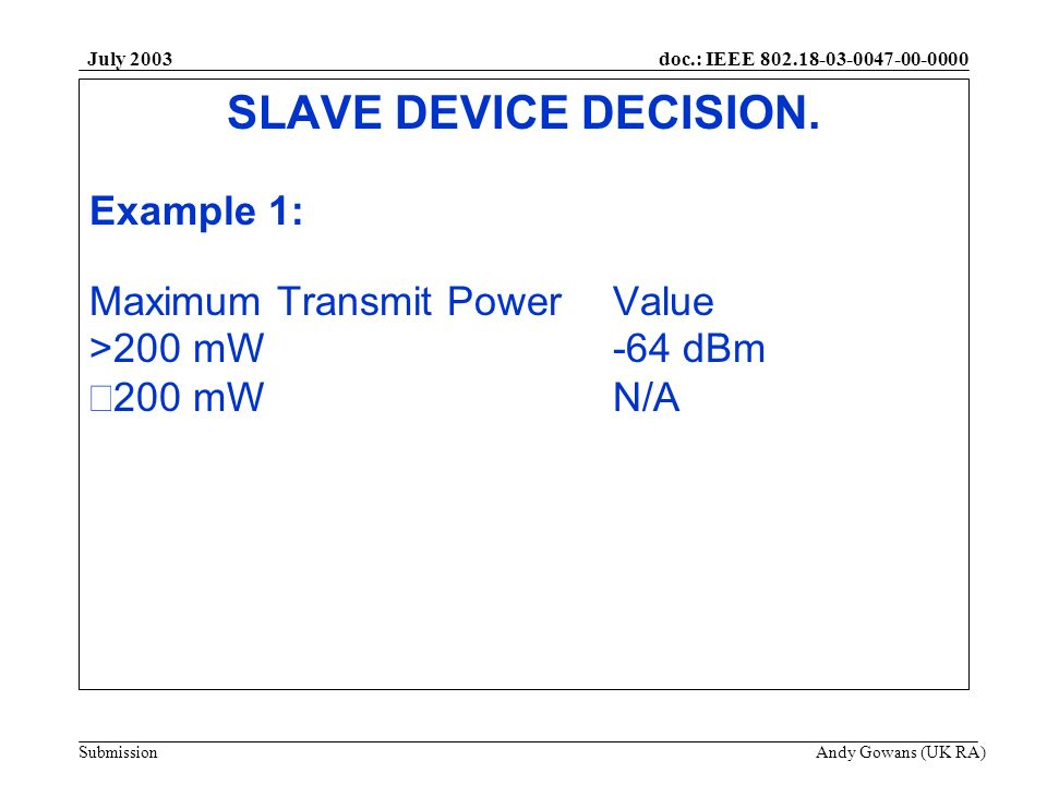 doc.: IEEE 802.18-03-0047-00-0000 Submission July 2003 Andy Gowans (UK RA) SLAVE DEVICE DECISION. Example 1: Maximum Transmit PowerValue >200 mW-64 dB