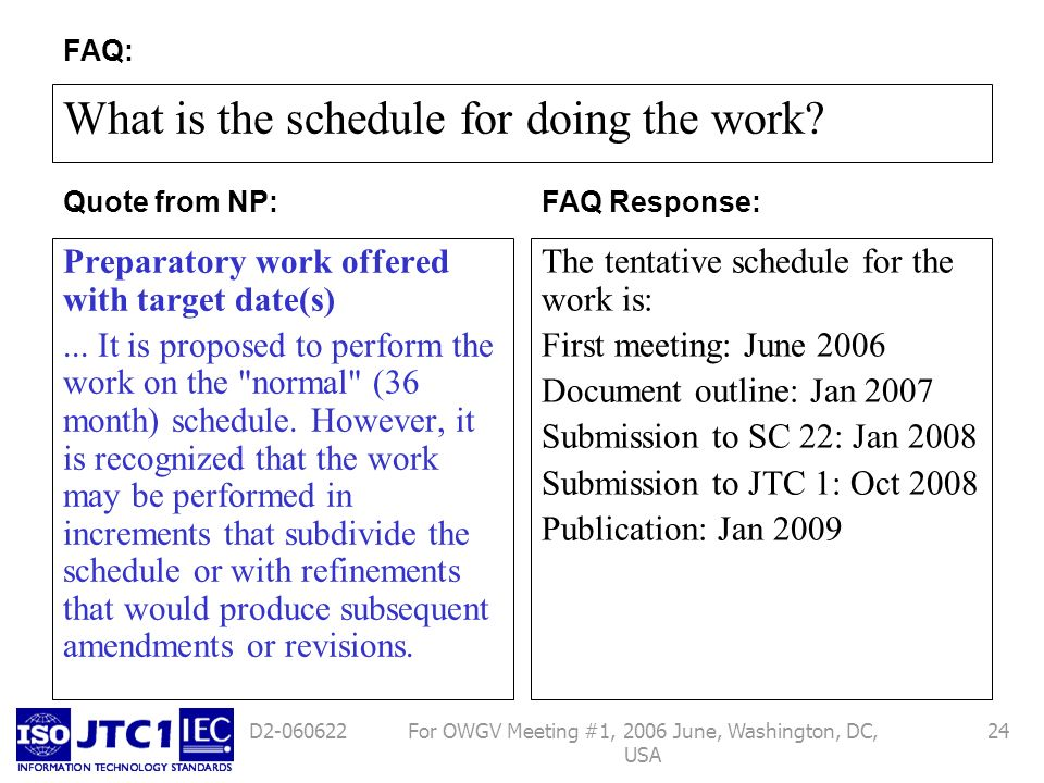 For OWGV Meeting #1, 2006 June, Washington, DC, USA 24D2-060622 What is the schedule for doing the work? Preparatory work offered with target date(s).