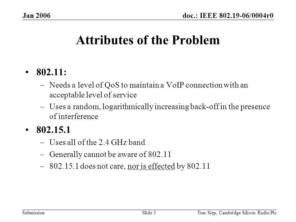 doc.: IEEE /0004r0 Submission Jan 2006 Tom Siep, Cambridge Silicon Radio PlcSlide 3 Attributes of the Problem : –Needs a level of QoS to maintain a VoIP connection with an acceptable level of service –Uses a random, logarithmically increasing back-off in the presence of interference –Uses all of the 2.4 GHz band –Generally cannot be aware of – does not care, nor is effected by