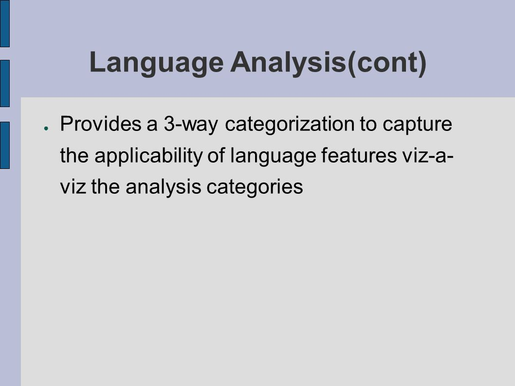 Provides a 3-way categorization to capture the applicability of language features viz-a- viz the analysis categories Language Analysis(cont)