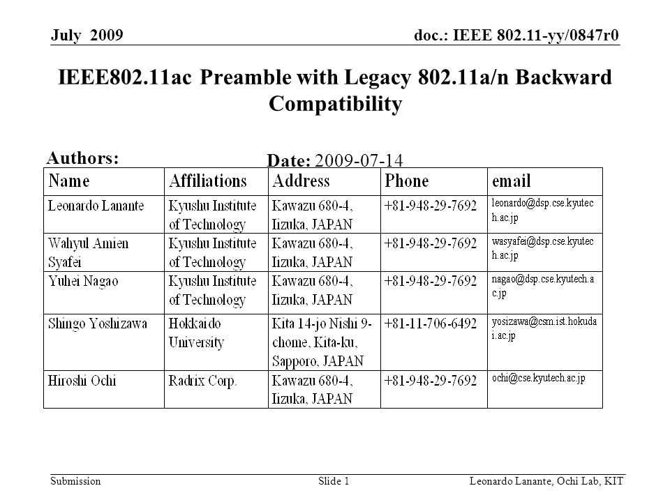 doc.: IEEE 802.11-yy/0847r0 Submission Slide 1Leonardo Lanante, Ochi Lab, KIT July 2009 IEEE802.11ac Preamble with Legacy 802.11a/n Backward Compatibility Date: 2009-07-14 Authors: