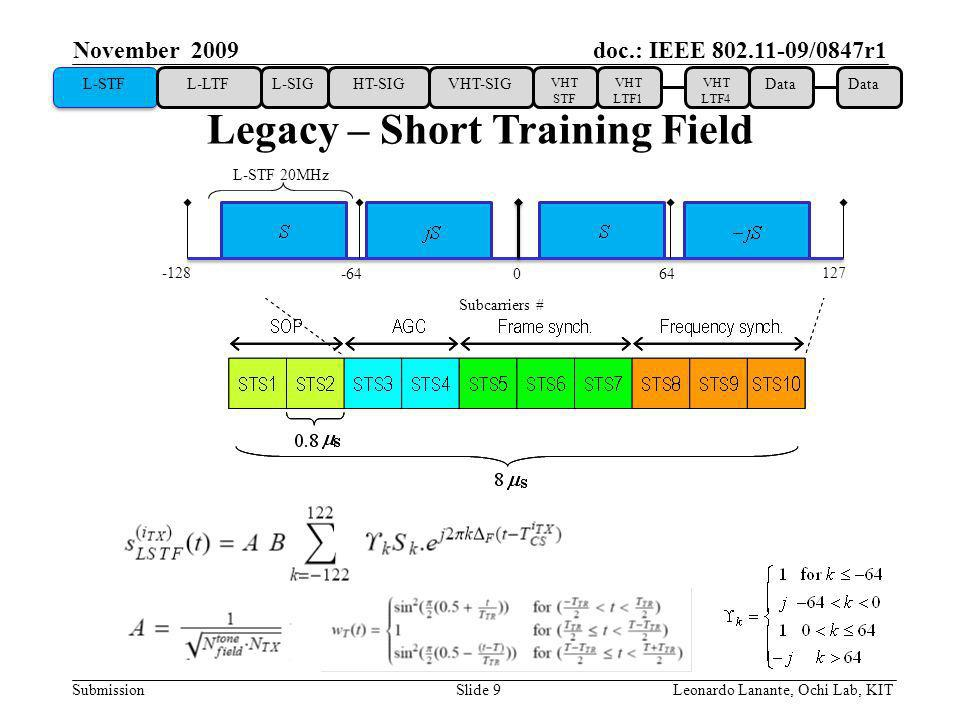 doc.: IEEE /0847r1 Submission Slide 9Leonardo Lanante, Ochi Lab, KIT November 2009 Legacy – Short Training Field L-STF L-LTFL-SIGHT-SIGVHT-SIG VHT STF VHT LTF1 VHT LTF4 Data Subcarriers # L-STF 20MHz