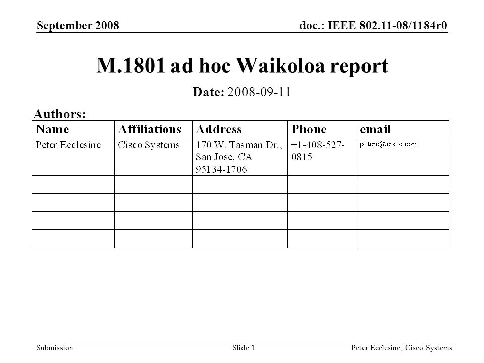 doc.: IEEE 802.11-08/1184r0 Submission September 2008 Peter Ecclesine, Cisco SystemsSlide 1 M.1801 ad hoc Waikoloa report Date: 2008-09-11 Authors: