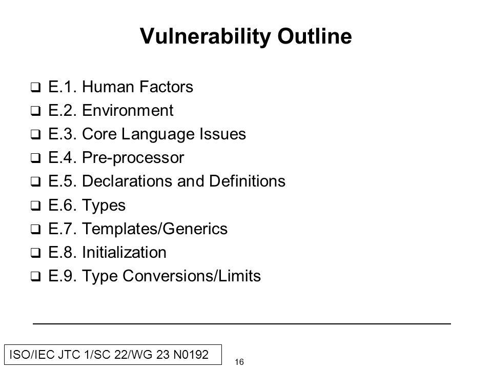 16 ISO/IEC JTC 1/SC 22/WG 23 N0192 Vulnerability Outline E.1.