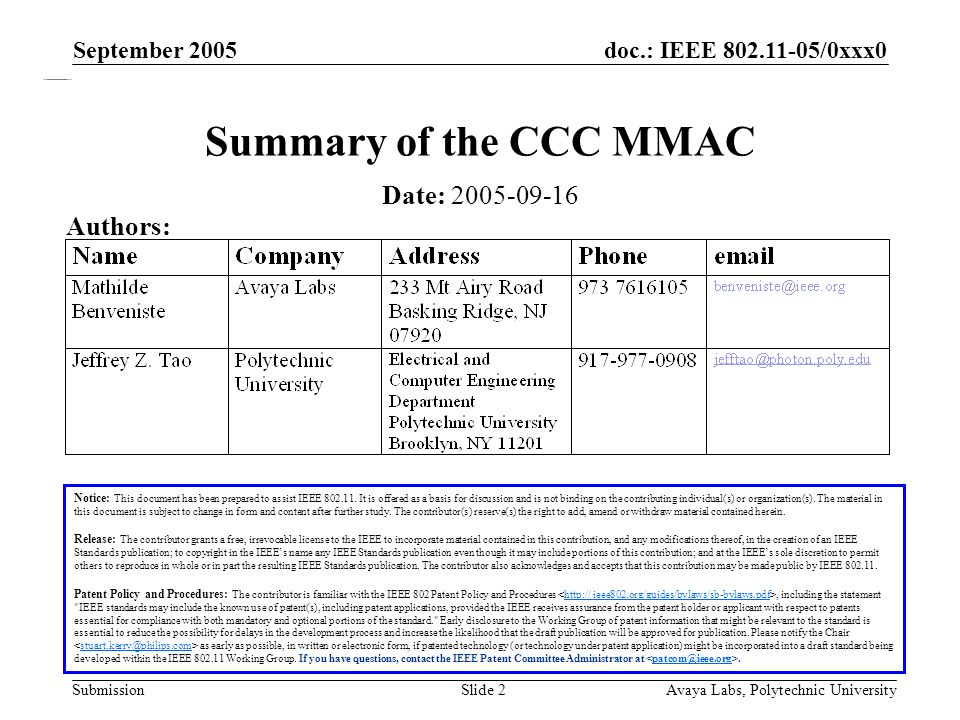 doc.: IEEE 802.11-05/0xxx0 Submission September 2005 Avaya Labs, Polytechnic UniversitySlide 2 Summary of the CCC MMAC Notice: This document has been prepared to assist IEEE 802.11.