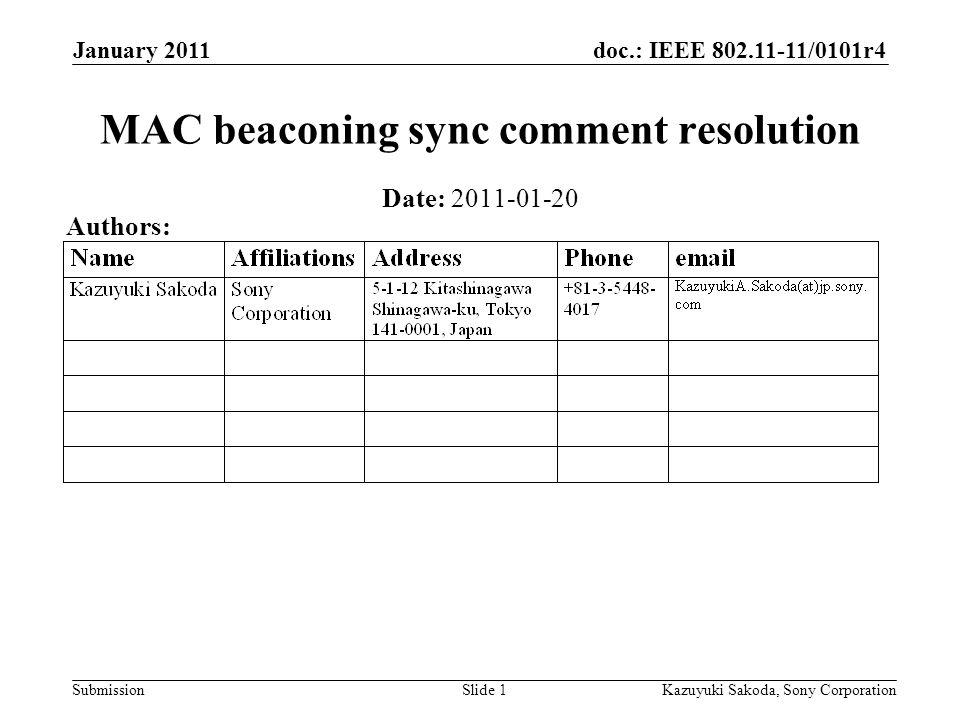 doc.: IEEE 802.11-11/0101r4 Submission January 2011 Kazuyuki Sakoda, Sony CorporationSlide 1 MAC beaconing sync comment resolution Date: 2011-01-20 Au