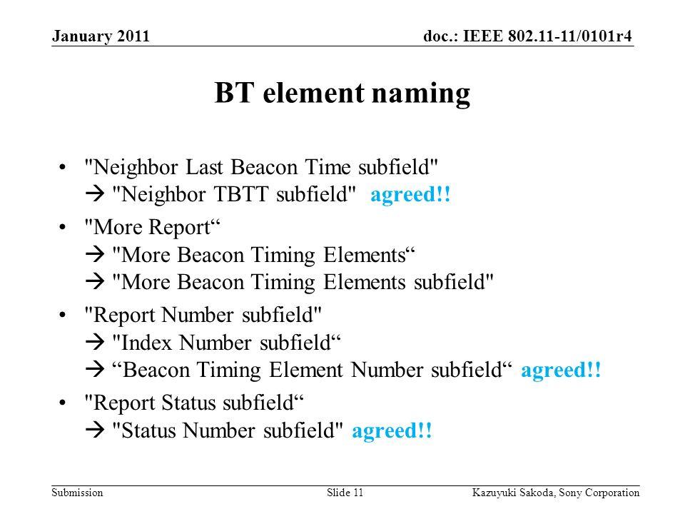 doc.: IEEE 802.11-11/0101r4 Submission January 2011 Kazuyuki Sakoda, Sony CorporationSlide 11 BT element naming