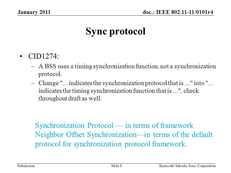 doc.: IEEE 802.11-11/0101r4 Submission January 2011 Kazuyuki Sakoda, Sony CorporationSlide 8 Sync protocol CID1274: –A BSS uses a timing synchronizati