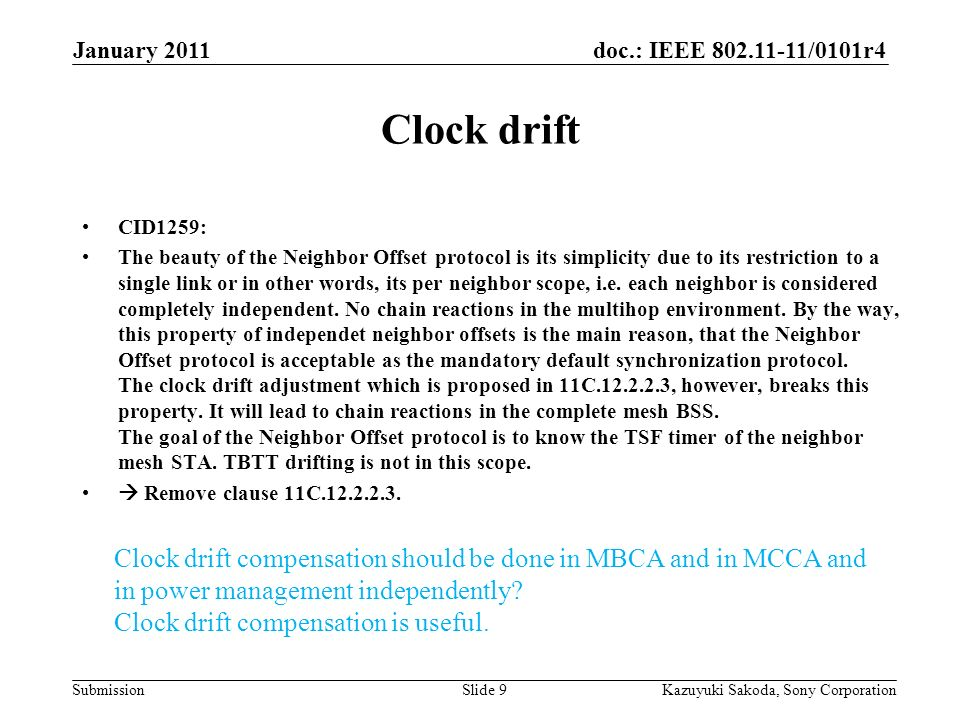 doc.: IEEE 802.11-11/0101r4 Submission January 2011 Kazuyuki Sakoda, Sony CorporationSlide 9 Clock drift CID1259: The beauty of the Neighbor Offset protocol is its simplicity due to its restriction to a single link or in other words, its per neighbor scope, i.e.