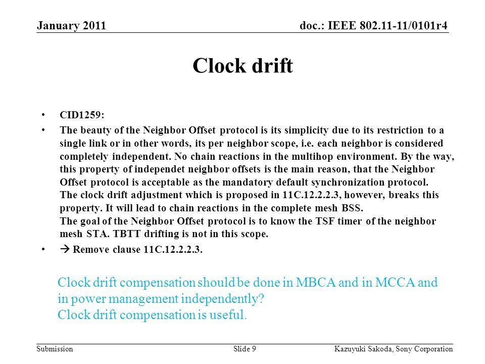 doc.: IEEE 802.11-11/0101r4 Submission January 2011 Kazuyuki Sakoda, Sony CorporationSlide 9 Clock drift CID1259: The beauty of the Neighbor Offset pr
