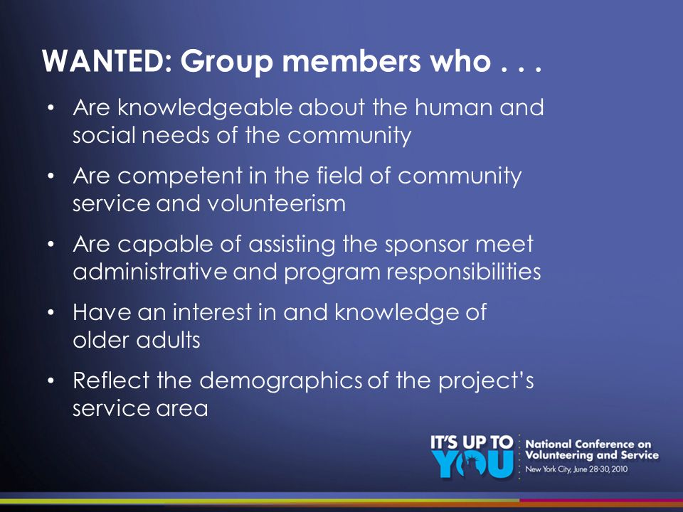 WANTED: Group members who...