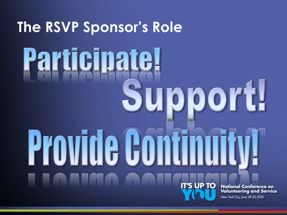 The RSVP Sponsors Role