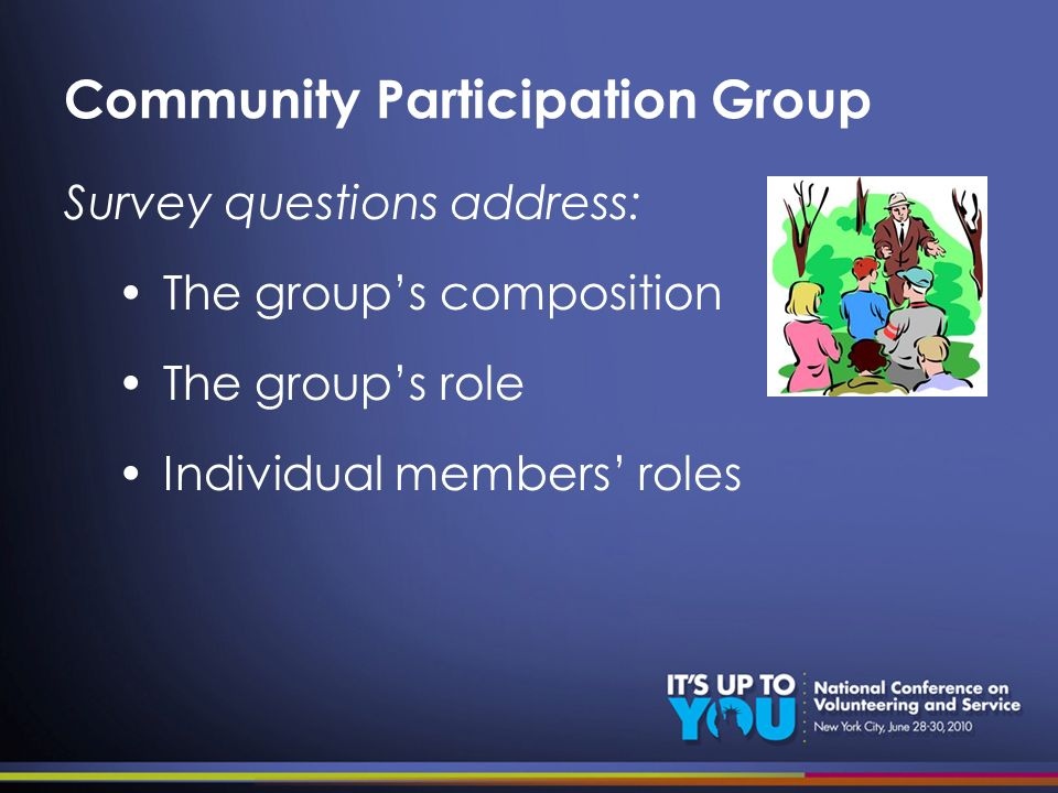 Community Participation Group Survey questions address: The groups composition The groups role Individual members roles