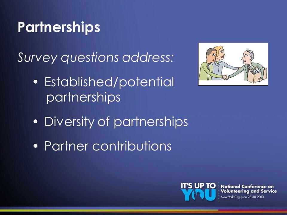 Partnerships Survey questions address: Established/potential partnerships Diversity of partnerships Partner contributions