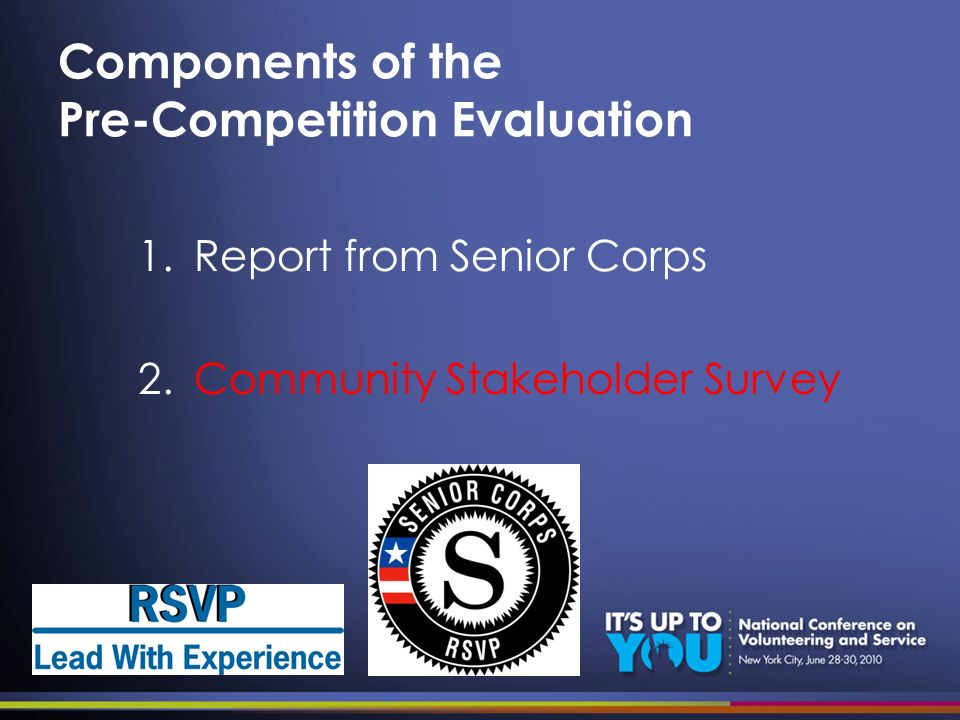 Components of the Pre-Competition Evaluation 1.Report from Senior Corps 2.Community Stakeholder Survey