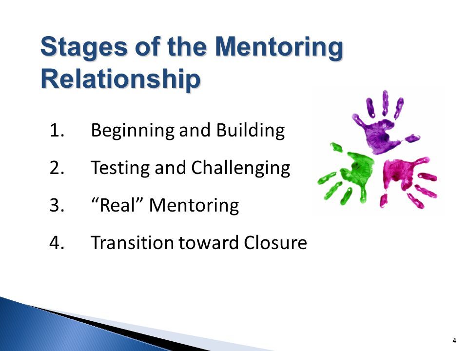 4 44 Stages of the Mentoring Relationship 1. Beginning and Building 2.