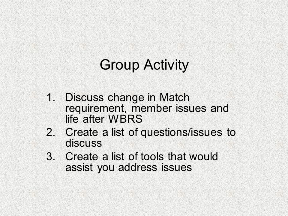 Group Activity 1.Discuss change in Match requirement, member issues and life after WBRS 2.Create a list of questions/issues to discuss 3.Create a list of tools that would assist you address issues