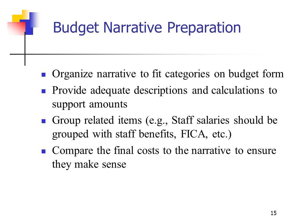 14 Budget Narrative Preparation Determine other costs needed for operating your program/project, examples include: Staff Space, utilities, supplies, t