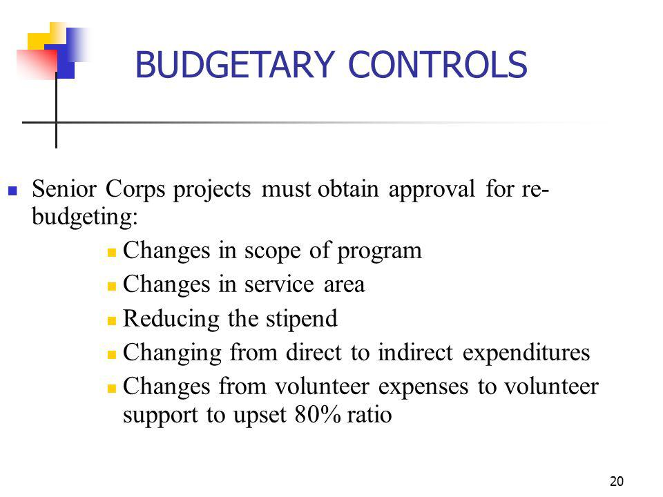 19 AmeriCorps programs must obtain prior approval for: Changes to increase or reallocate funds for member support category (Section A) Purchase of equ