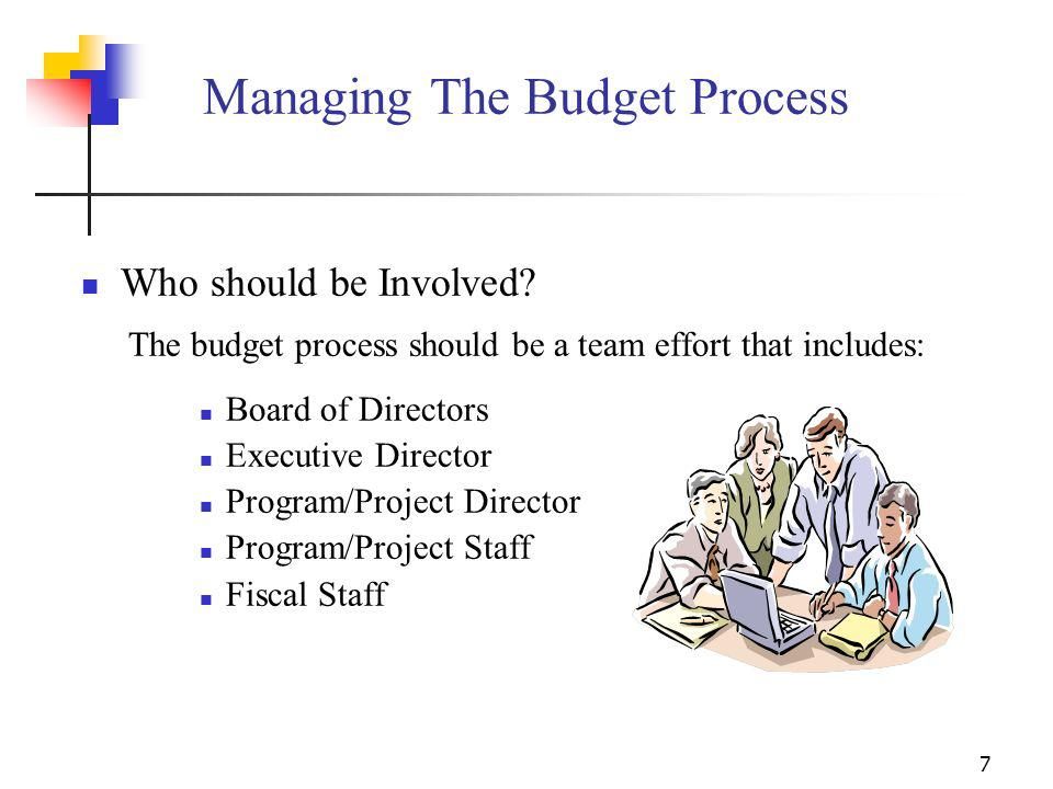 6 Qualities of an Effective Budget Realistic Consistent with organizational objectives Flexible (amendable if conditions are not as expected) Consiste