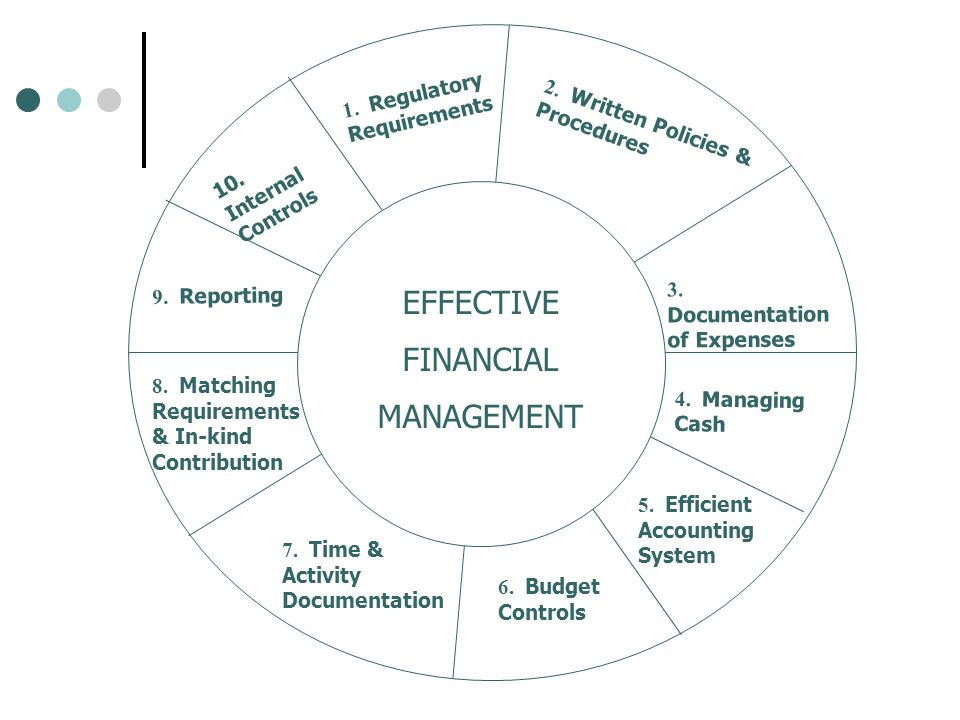 1. Regulatory Requirements 2. Written Policies & Procedures 3. Documentation of Expenses 4. Managing Cash 5. Efficient Accounting System 6. Budget Con
