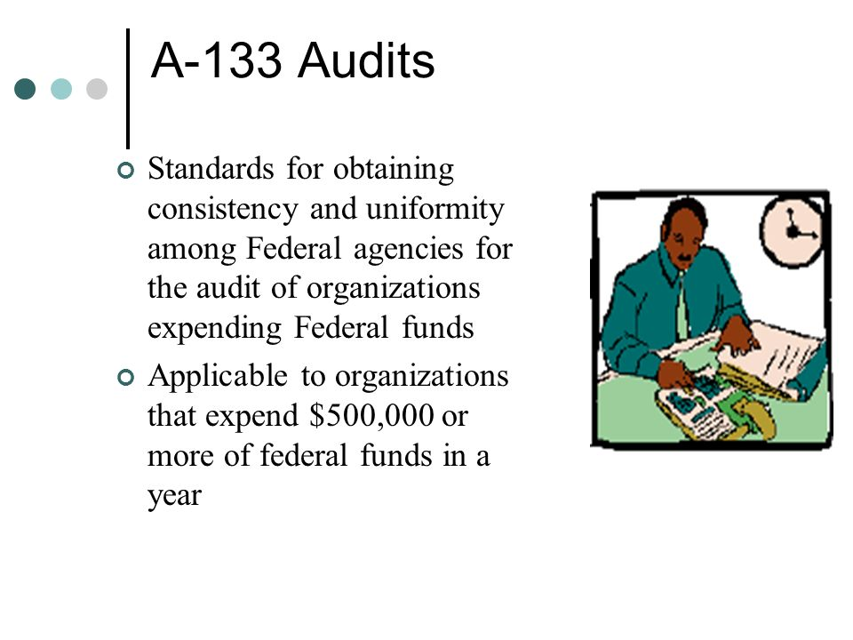 A-133 Audits Standards for obtaining consistency and uniformity among Federal agencies for the audit of organizations expending Federal funds Applicab