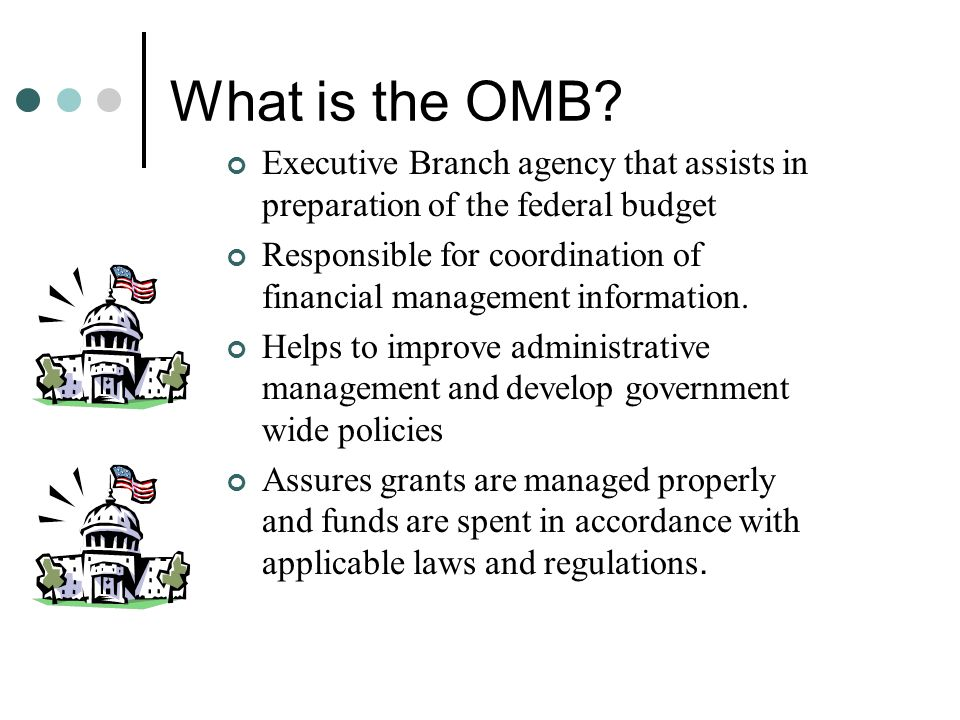 What is the OMB? Executive Branch agency that assists in preparation of the federal budget Responsible for coordination of financial management inform