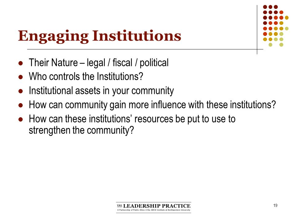 19 Engaging Institutions Their Nature – legal / fiscal / political Who controls the Institutions.