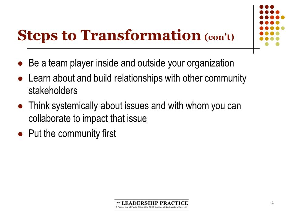 24 Steps to Transformation (cont) Be a team player inside and outside your organization Learn about and build relationships with other community stakeholders Think systemically about issues and with whom you can collaborate to impact that issue Put the community first