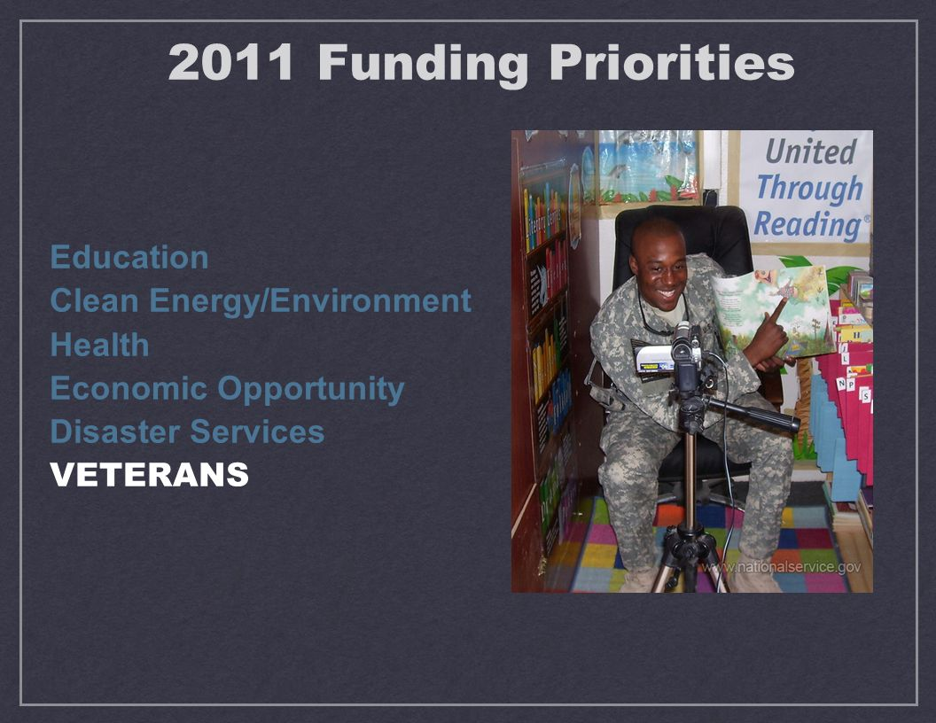 Education Clean Energy/Environment Health Economic Opportunity Disaster Services VETERANS 2011 Funding Priorities
