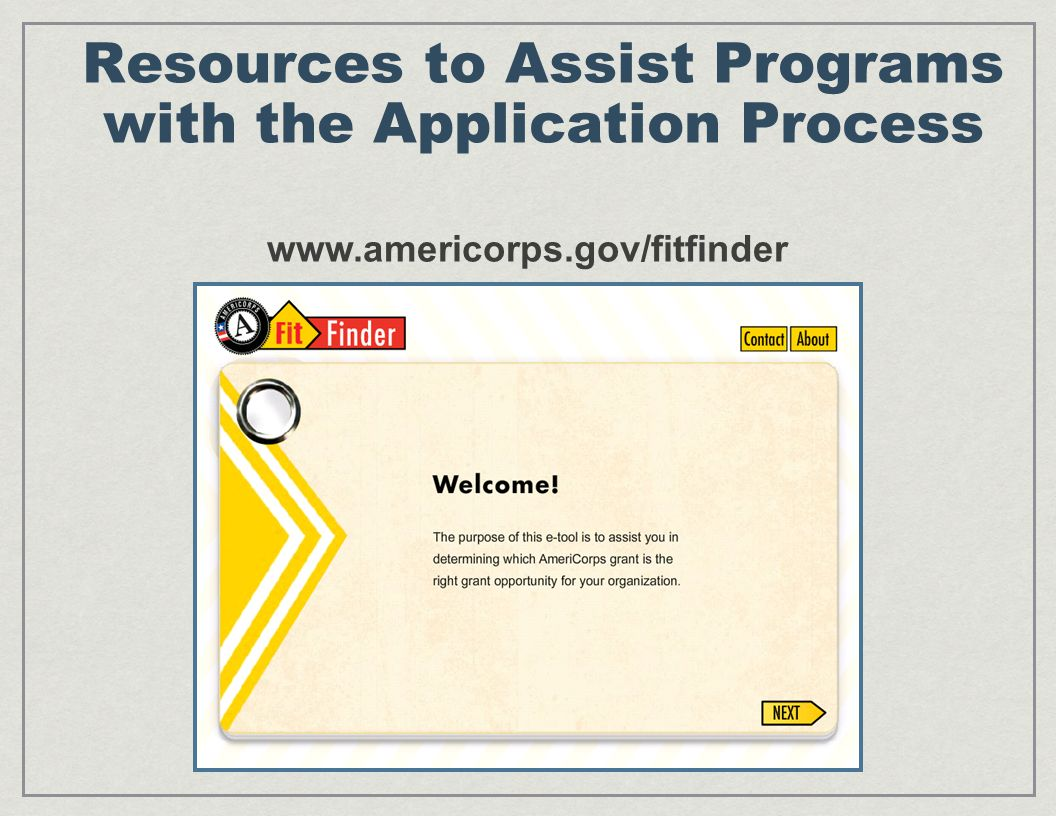 Resources to Assist Programs with the Application Process www.americorps.gov/fitfinder