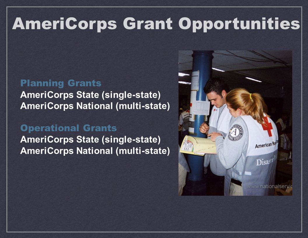 Planning Grants AmeriCorps State (single-state) AmeriCorps National (multi-state) Operational Grants AmeriCorps State (single-state) AmeriCorps National (multi-state) AmeriCorps Grant Opportunities