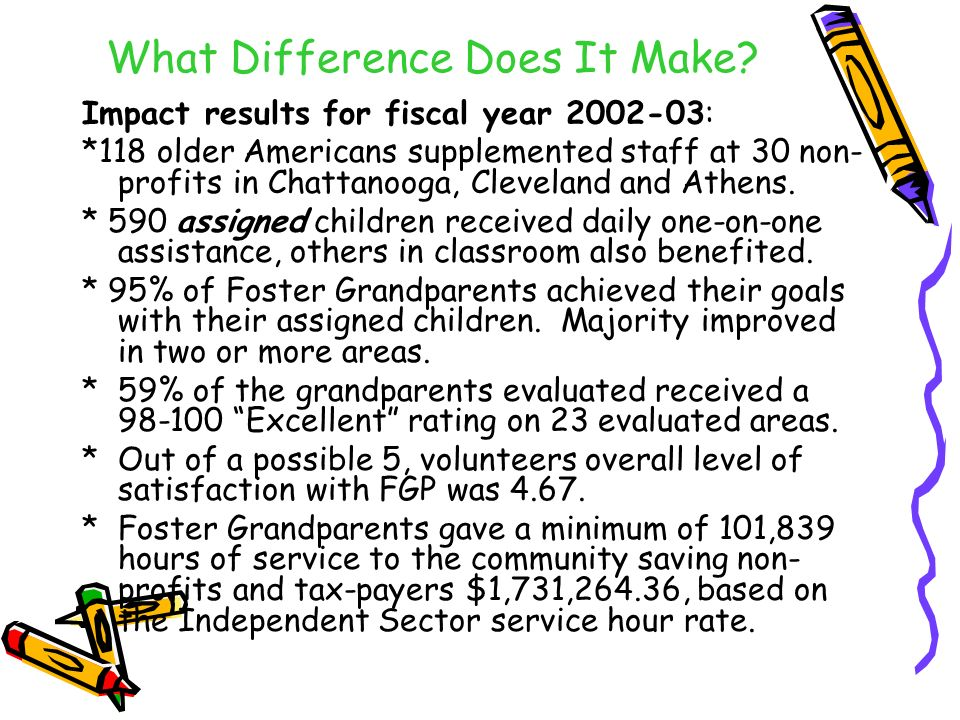 What Difference Does It Make? Impact results for fiscal year 2002-03: *118 older Americans supplemented staff at 30 non- profits in Chattanooga, Cleve