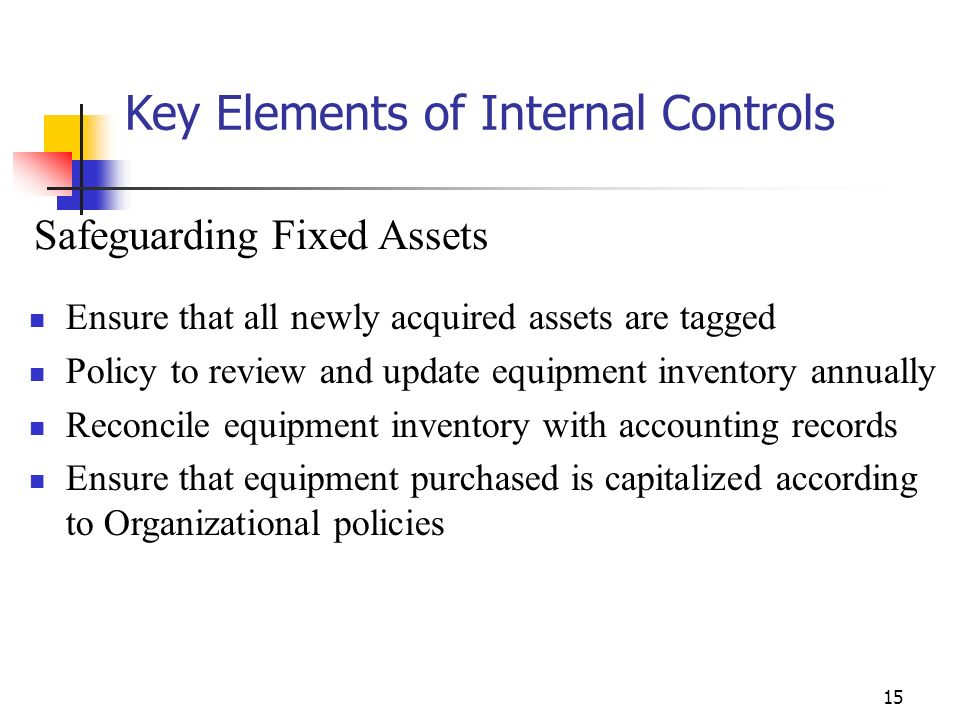 14 Key Elements of Internal Controls Controls over receipts Person opening mail should be different from person making deposits Deposit only to a bank