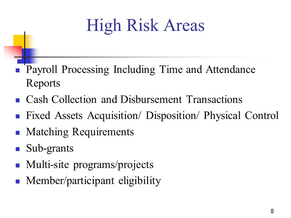 8 High Risk Areas Payroll Processing Including Time and Attendance Reports Cash Collection and Disbursement Transactions Fixed Assets Acquisition/ Disposition/ Physical Control Matching Requirements Sub-grants Multi-site programs/projects Member/participant eligibility