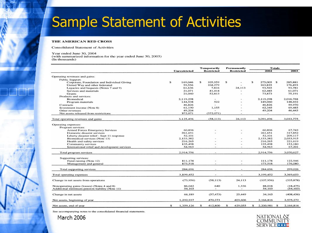 March 2006 Sample Statement of Activities