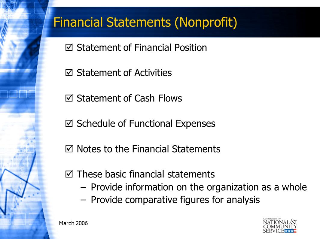 March 2006 Financial Statements (Nonprofit) Statement of Financial Position Statement of Activities Statement of Cash Flows Schedule of Functional Expenses Notes to the Financial Statements These basic financial statements –Provide information on the organization as a whole –Provide comparative figures for analysis