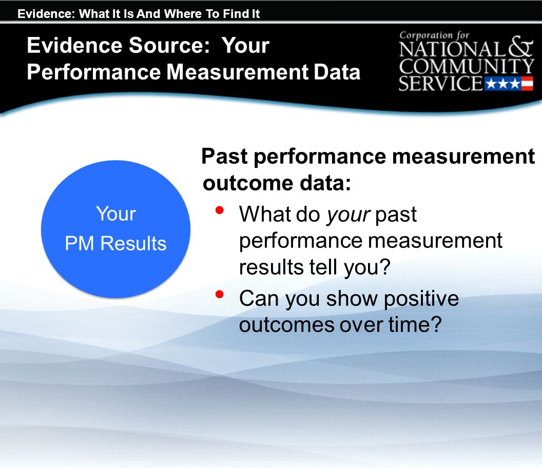 Evidence: What It Is And Where To Find It Evidence Source: Your Performance Measurement Data Past performance measurement outcome data: What do your past performance measurement results tell you.