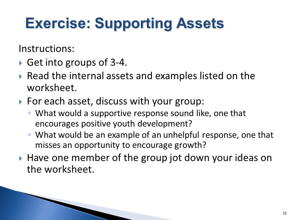 10 Instructions: Get into groups of 3-4. Read the internal assets and examples listed on the worksheet. For each asset, discuss with your group: What